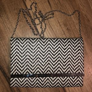 Black and white chevron crossbody bag